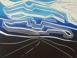 'Cowlam' (blue) (2017). Lino Print. 20 x 30 cm. Variable edition