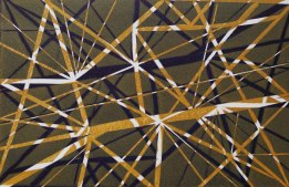 'Network' (2018). (Ocre & navy) Lino Print. 20 x 15cm. Variable edition